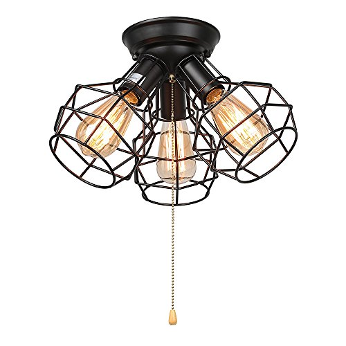 LALUZ Wire Cage Ceiling Lights 3-light Pull String Flush Mount Ceiling Light - Cage Ceiling Light
