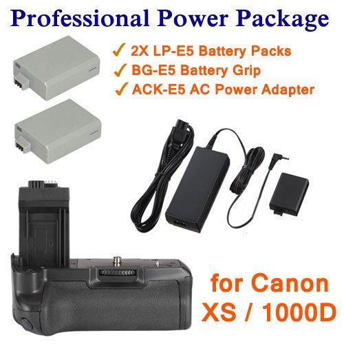 KAPAXEN Power Kit (2x LP-E5 Batteries / ACK-E5 Power Adapter / BG-E5 Battery Grip) for Canon EOS Rebel XS and 1000D Digital SLR Cameras