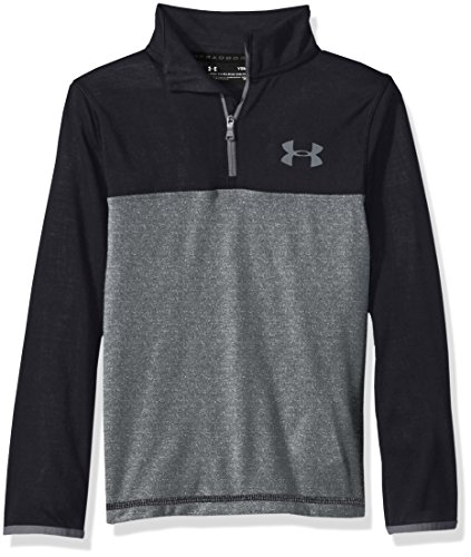 Under Armour Boys' Threadborne ¼ Zip,Black/Graphite, Youth Large - Boys Coldgear Long Sleeve