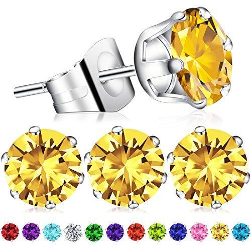 Ring Swarovski Peridot Crystal (2Pcs November Birthstone Stud Earrings, Swarovski Element AAA Cubic Zirconia S925 Stamp Sterling SilverEarrings for Women Girls (Citrine))