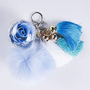 NW 1776 Hand-Made Flowers Never Fade Keychain,Plush Ball, Eternal Flowers Perfect Clothing and Bag Accessories Gift with for Valentine's Day, Mother's Day, Christmas, Anniversary, Birthday 2
