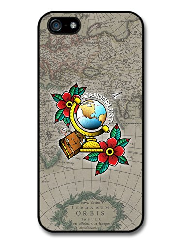 Wanderlust Travelling Map With Tattoo Flash Flower Design case for iPhone 5 5S