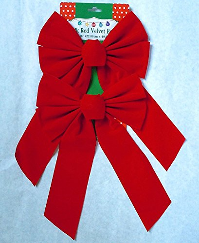 Red Velvet Christmas Bow 9-inch X 16-inch, 10 Pack of Holiday Bows Red Bow Christmas Decorations