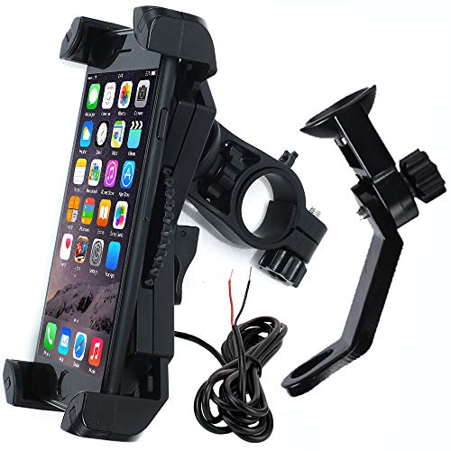 Motorcycle Phone Mount with Charger 5V 2.4A USB Port Install on Handlebar/Mirror Bar, Leepiya Cell Phone Holder for iPhone X 8 7 6 5 Plus, Galaxy S9 S8 S7 S6 Plus and All 3.5 to 6 Mobile Phone/GPS