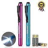 Pen Light, RISEMART Nurse Led Medical Penlight with Pupil Gauge for Nursing Students Doctors Red and Blue with Batteries