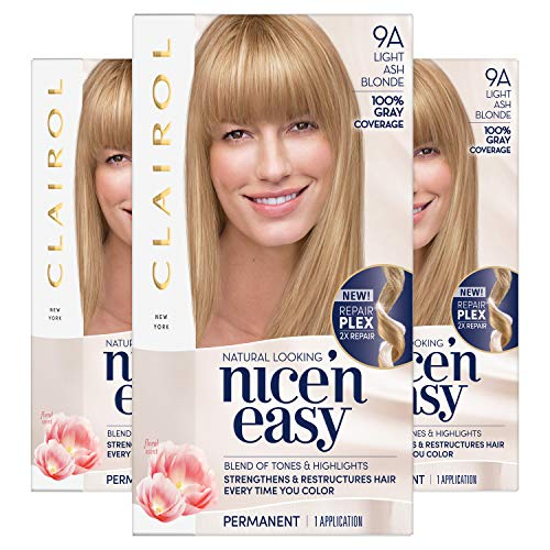 Clairol Nice'n Easy Permanent Hair Color, 9A Light Ash Blonde, 3 Count (Demi Hair Color Blonde)