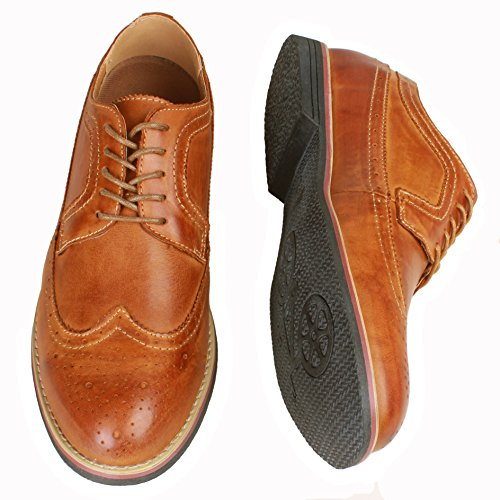 Brown Wingtip Oxford (PhiFA Men's Distressed Genuine Leather Wingtips Oxfords Lace-UPS US Size 11 Brown)