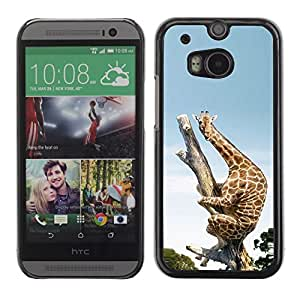 Soft Silicone Rubber Case Hard Cover Protective Accessory Compatible with HTC ONE M8 2014 - Funny Funny Scared Giraffe Africa
