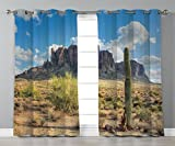 Thermal Insulated Blackout Grommet Window Curtains,Saguaro Cactus Decor,Famous Canyon Cliff with Dramatic Cloudy Sky Southwest Terrain Place Nature,Brown Green Blue,2 Panel Set Window Drapes,for Livin