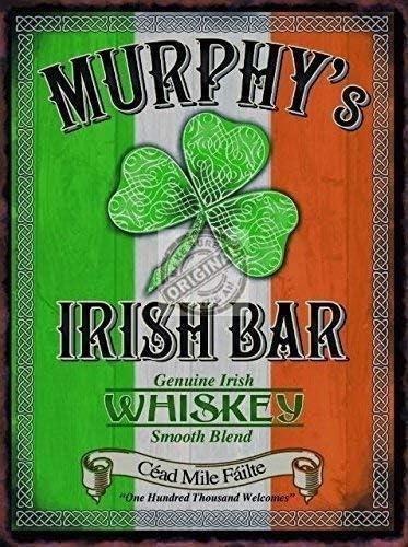 20 x 30 cm Targa in Metallo a Forma di Quadrifoglio Murphys Irish Bar Whiskey Irlanda