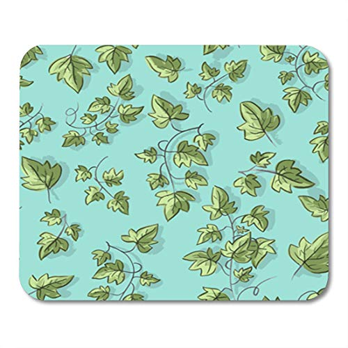 Semtomn Gaming Mouse Pad Green Graphic Ivy Twig Abstract Beautiful Border Botanic Branch 9.5