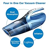 HILLPOW 4 In 1 Wet/Dry Handheld Auto Car Vacuum 12V 100W Portable Vacuum Duster Cleaner Super Suction with Tire Inflator Tire Pressure Gauge and LED Light-Blue