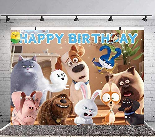 The Secret Life of Pets Backdrop, Poster Backdrop for Birthday Party Supplies Boys Kids Photography Background Dessert Table Banner Photo Booth Props Decoration 7x5Ft