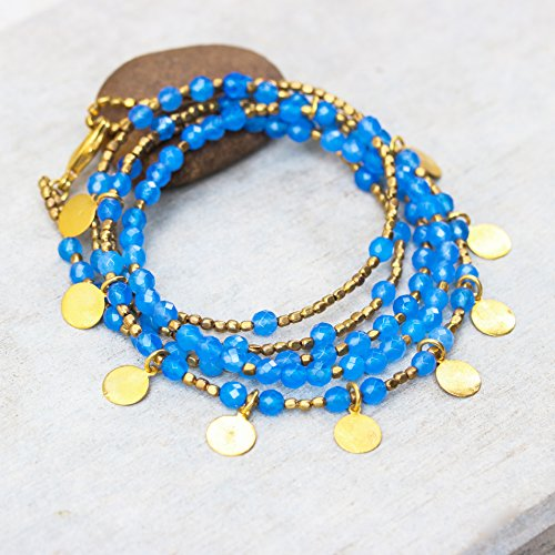 Blue chalcedony faceted beads wrap bracelet with gold 22k plated on brass beads and golden disc - Beads Chalcedony Faceted