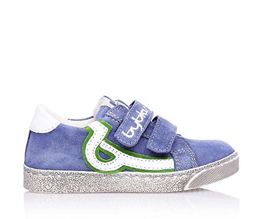BYBLOS - Chaussure bleue en nabuk, avec un style amusant et positif, avec fermeture en velcro, applications latérales en cuir blanc, garçon, garçons