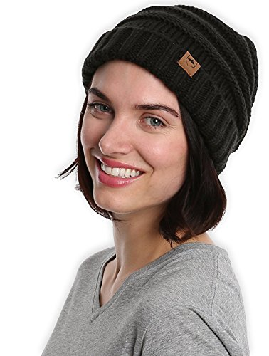 Slouchy Cable Knit Cuff Beanie by Tough Headwear – Chunky, Oversized Slouch Beanie Hats for Men & Women – Stay Warm & Stylish – Serious Beanies for Serious Style – DiZiSports Store