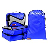 Trvl Fielder Packing Cubes Travel Cube Organizer Set Of 3 Packing Cubes + Drawstring Laundry Bag (Blue)