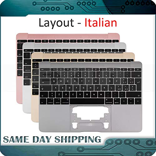 - ShineBear New Gold/Gray Grey/Silver/Rose Gold Color for MacBook 12'' A1534 Itlian Italy Keyboard with Topcase Top Case 2015 2016 2017 Year - (Cable Length: 2015, Color: Silver Color)