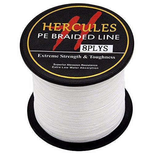HERCULES 300m 328yds White 10lbs-300lbs Pe Braid Fishing Line 8 Strands (50lb/22.7kg 0.37mm)