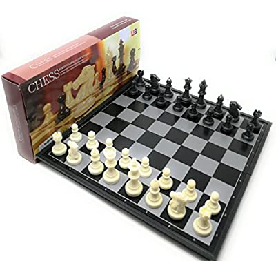 THY COLLECTIBLES Magnetic Portable Holding Travel Chess Set Classic Black & White 12.5 x 12.5 Inch