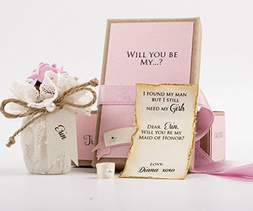 Bridesmaid Message Bottle CUSTOM Asking product image