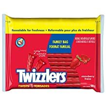 TWIZZLERS Licorice Christmas Candy, Strawberry Twists, Family Bag, 680 Gram