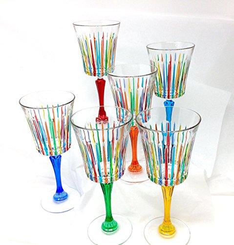 Via Graceffo Wine Glasses Timeless Handmade in Murano, Italy Set of 6