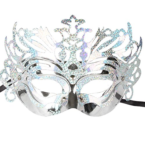 Mossey Women Sexy Half-face Mask Masquerade Flower Partial Crown Mask (Silver2)