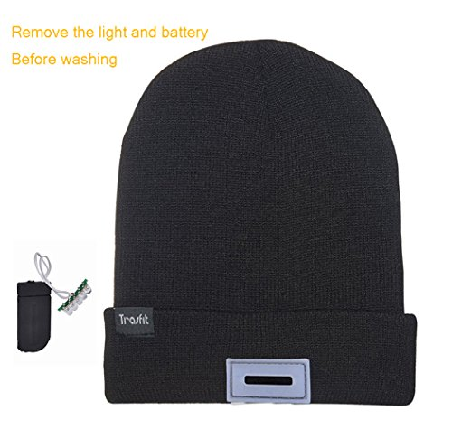 Trasfit-Unisex-5-LED-Knitted-Beanie-Hat-for-Camping-Grilling-Auto-Repair-Jogging-Walking-or-Handyman-Working-Hands-Free-Led-Beanie-Cap