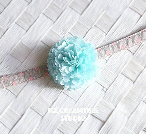 Pom Pom Bloom Collar Slide On, Flower Collar Accessories, Corsage Accessories, Collar Add On, Pom Pom - Aqua Mint