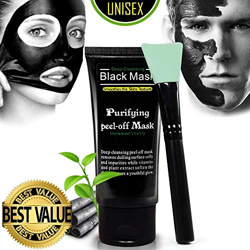 Facial Black Charcoal Mask Peel Off Blackhead Remover and Brush Kit Hydrating Pure Natural Face Nourish Moisturizing for Face Nose, 50 ml