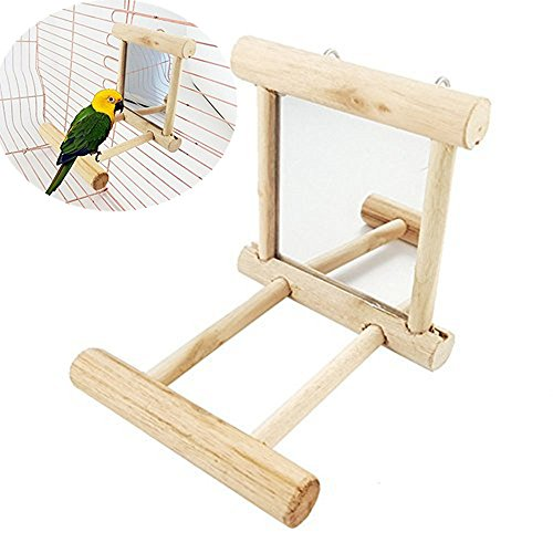Bird Mirror Toy Parrot Natural Wooden Perches Play Platform Stand Cage Interactive Toys for Cockatiels Parakeets (Mirror Perch)