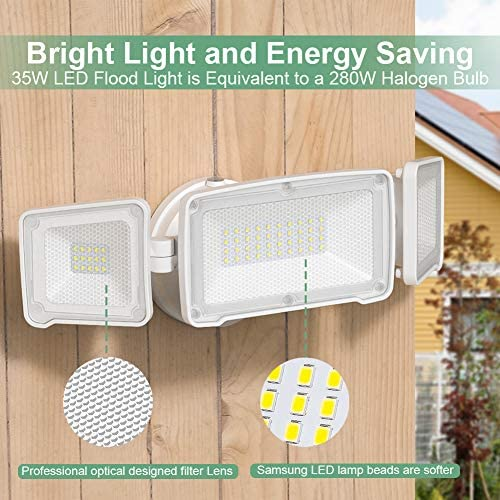 Full Metal Dusk to Dawn Exterior Flood Light – Super Bright Security Light Outdoor – 35W 3500LM, Samsung LED Bead, IP65 Waterproof, 5500K – GLORIOUS-LITE Adjustable LED Outdoor Lighting No Motion