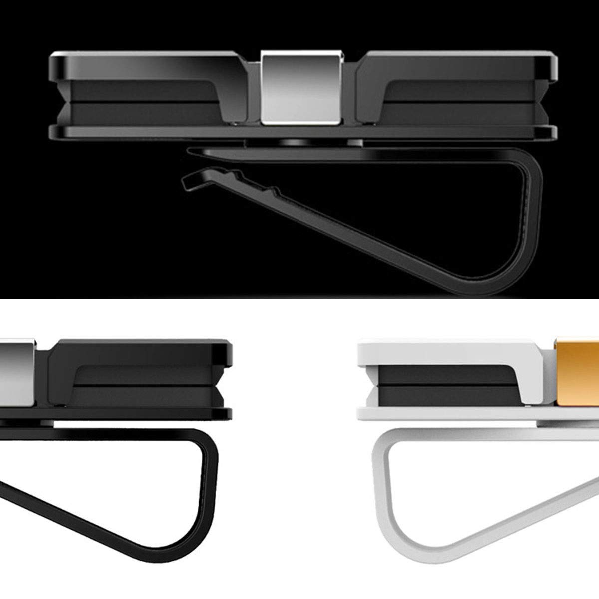 DEALPEAK Rotatable Glasses Holder For Sun Visor//Air Vent,Sunglasses Eyeglasses Mount Accessory With Ticket Card Clip Color : White