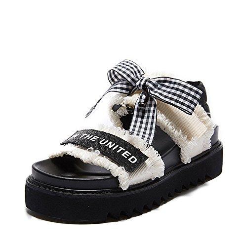 5 Color Zapatos Mujer Verano Simple Tela CN37 Moda Blanco Blanco Inferior Feifei Playa Cómodo Negro Sandalias 5 Opcional UK4 de de Tamaño Grueso Blanco Material EU37 y gw5xUnIqt