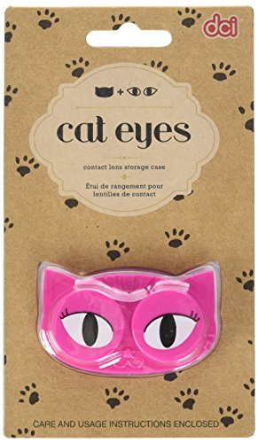 DCI Cat Eyes Contact Lens Case - Travel Mini Contact Lens Case Holder - Eye Care You Will Love (color may vary)