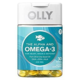 OLLY The Alpha and Omega-3 Vitamin DHA EPA ALA - 30 Count