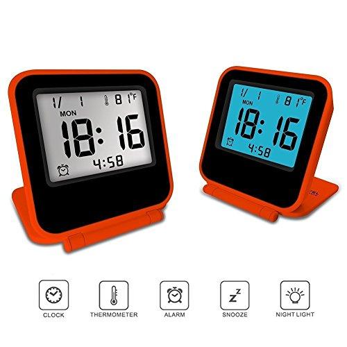 KLAREN Electronic Alarm Clock, Travel Clock, Portable Digital Clock with Calendar & Temperature - Battery Included (Orange)