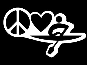 Peace Love Kayak Vinyl Decal Sticker | Cars Trucks Vans Walls Laptops Cups | White | 7 X 4.2 Inch | KCD1634W