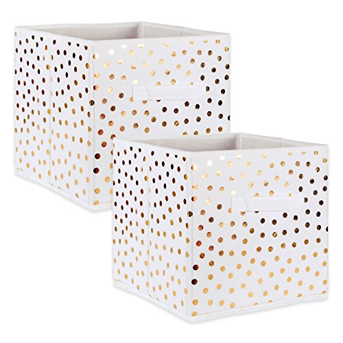 "DII Fabric Storage Bins for Nursery, Offices, & Home Organization, Containers Are Made To Fit Standard Cube Organizers (11x11x11"") White with Gold Dots - Set of 2"
