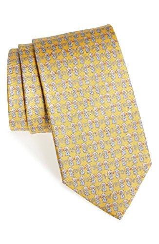 Slavatore Ferragamo Men's Yellow Monkey Silk Neck Tie by Salvatore Ferragamo