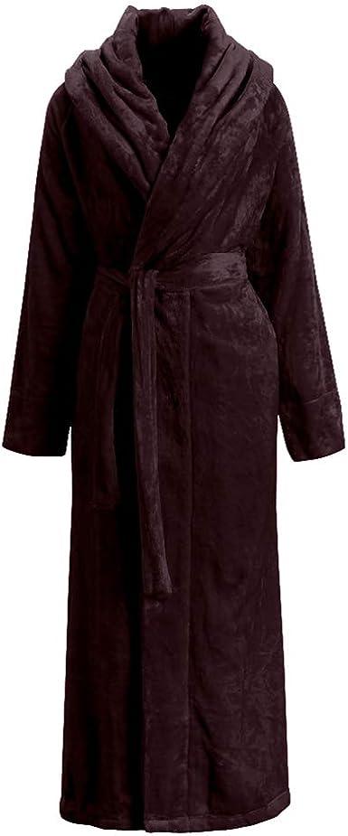 Mens Winter Fleece Dressing Men Gown Soft Long Fleece Bath Robe House Coat