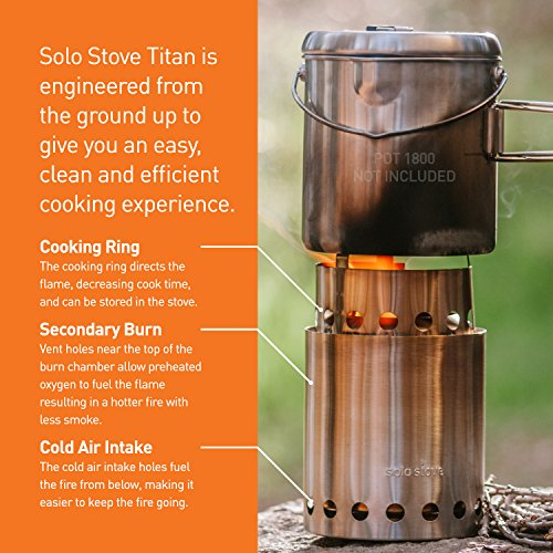 Solo Stove Titan - 2-4 Person Lightweight Wood Burning Stove. Compact Camp Stove Kit for Backpacking, Camping, Survival. Burns Twigs - No Batteries or Liquid Fuel Canisters Needed.