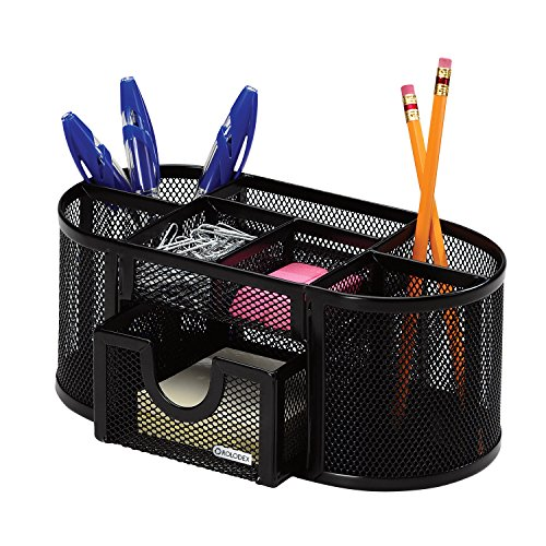 Rolodex Mesh Pencil Cup Organizer, Four Compartments, Steel, 9 1/3''x4 1/2''x4'', Black (1746466) by Rolodex (Image #2)