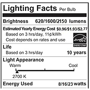 Philips LED 472464 50-100-150 Watt Equivalent 3-Way Frosted A21 Energy Star Certified Light Bulb in Frustration-Free-Packaging (2 Pack), Soft White, 2 Piece