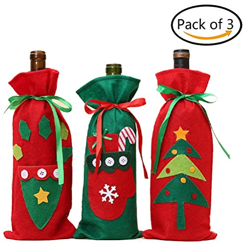 Ugly Sweater Christmas Party Ideas (AOWA 3PCS Ugly Christmas Sweater Wine Bottle Cover Party Favor Decor)
