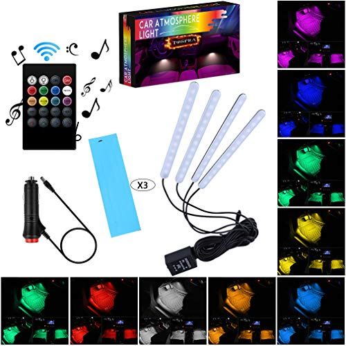 Car LED Strip Light Interior,TOSPRA 4PCS 48 LED Multicolor Music Car Atmosphere Lights,Sticky Foam Adhesive,Sensitively Wireless Remote Control with Sound Active Function (Remote Control-8 Colors)
