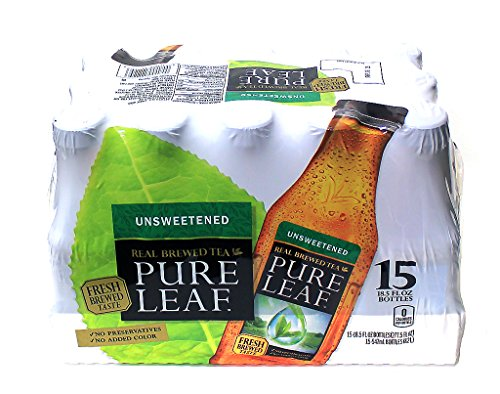 Pure Leaf Unsweetened Real Brewed Black Tea, 18.5 Ounce (15 Bottles) by Lipton