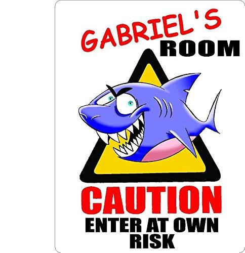 GABRIEL Caution enter Shark Kids room door décor sign 7