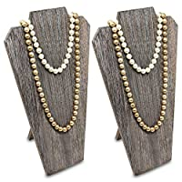 Ikee Design 2pcs Set Wooden Jewelry Display Bust with Easel